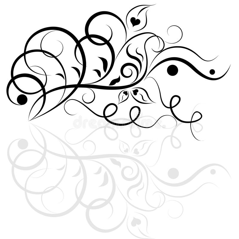 Black and white floral design stock illustration