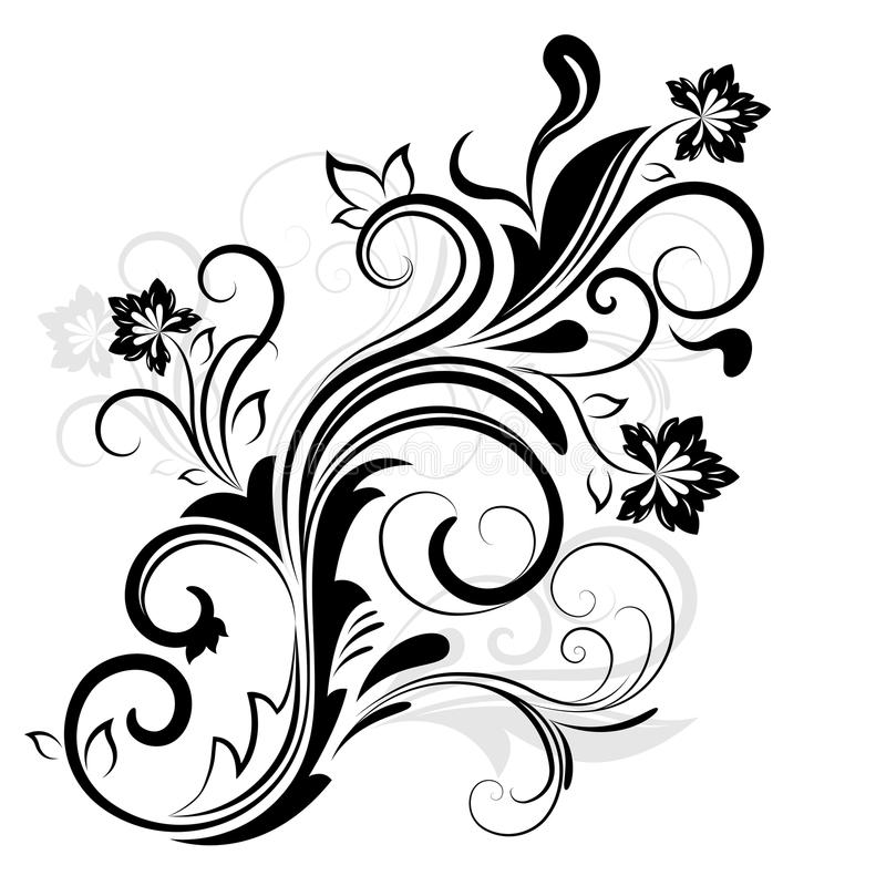 Floral Art Line Design : Black and white floral design stock vector illustration