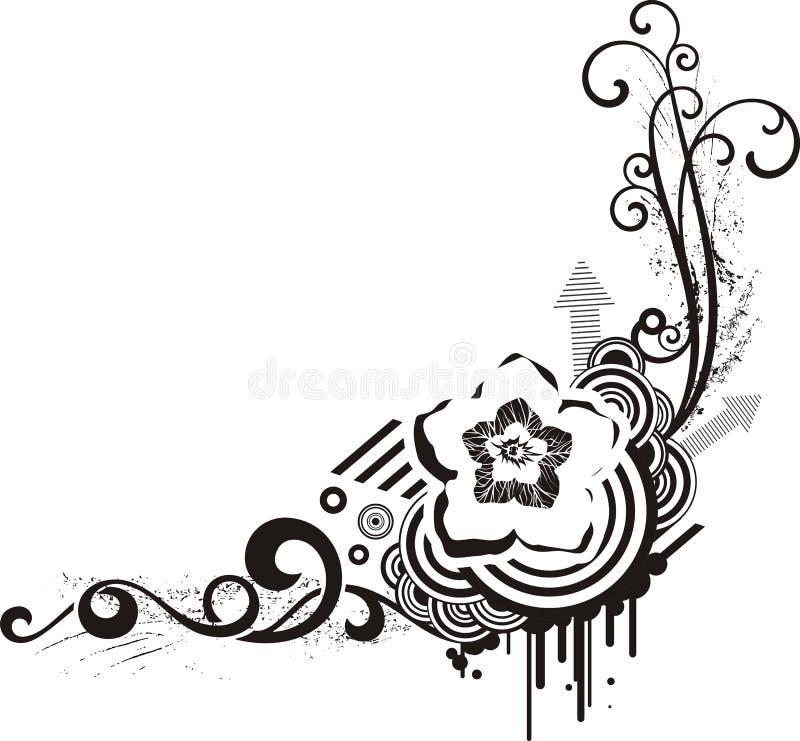 Black & white floral designs stock images