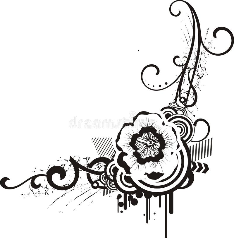 Black & white floral designs royalty free stock image
