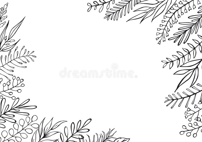 Black and white floral hand drawn farmhouse style outlined twigs branches frame border background. With place for text vector illustration