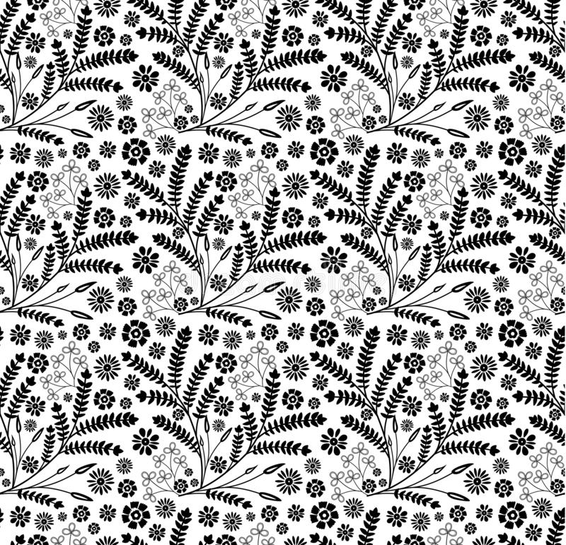 Black and white floral and herbal beautiful seamless pattern background. royalty free stock photo
