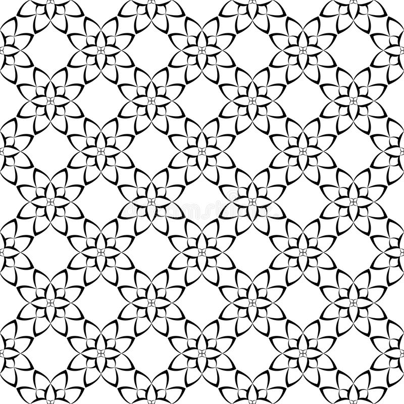 Black and white floral ornaments. Seamless pattern stock illustration