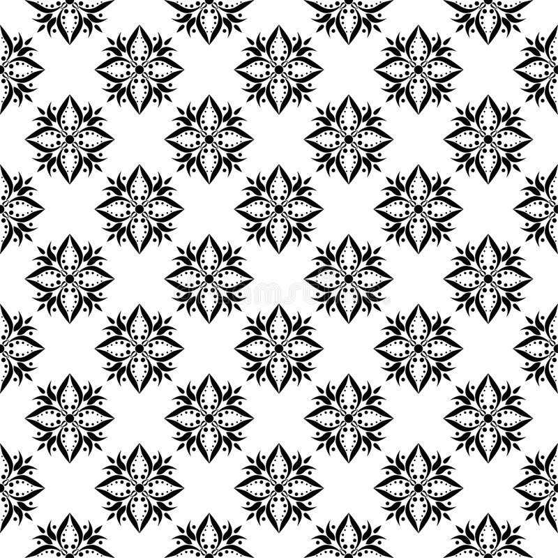 Black and white floral ornaments. Seamless pattern vector illustration