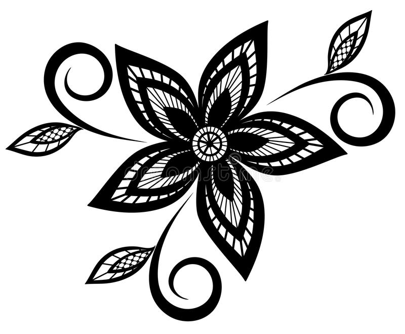 black and white floral pattern design element. royalty free stock photos