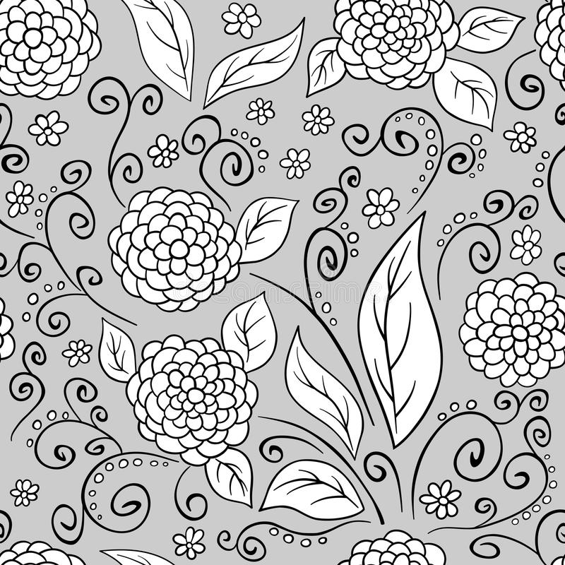 Black Flower And Bud Pattern Royalty Free Stock Photos: Black And White Floral Pattern Royalty Free Stock Images