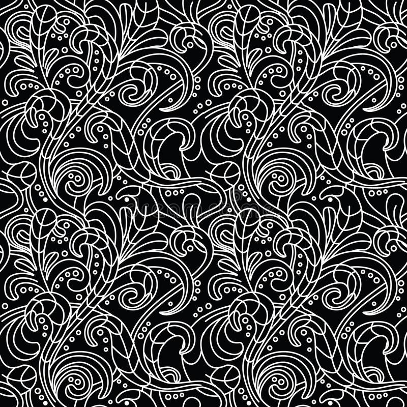 Download Black And White Floral Seamless Pattern Stock Vector - Image: 22464491