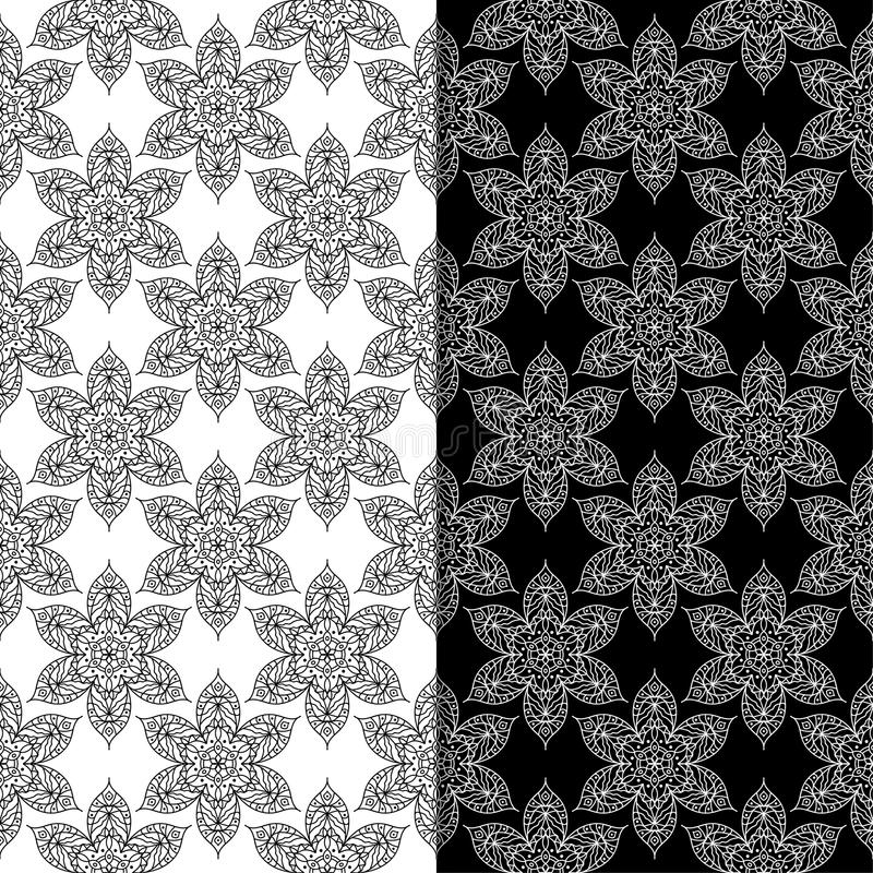 Black and white floral seamless patterns set of backgrounds stock download black and white floral seamless patterns set of backgrounds stock vector illustration of mightylinksfo