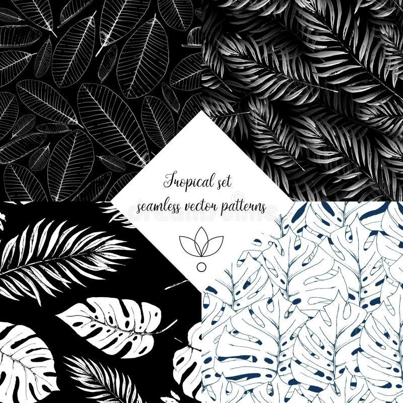 Black and white floral tropic design seamless patterns set. Wild flowers and leaves background vector illustration