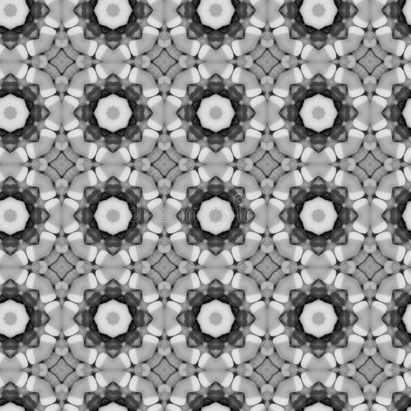 Black and white flower mosaic detailed seamless textured pattern background. Black and white flower mosaic detailed seamless and repeat textured pattern stock photography