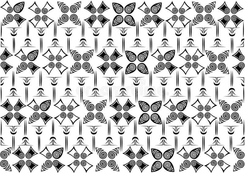 Black white flower pattern illustration stock photos