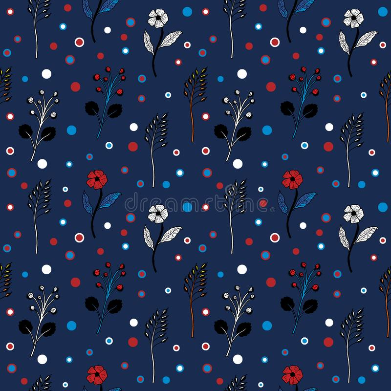 Black and white flowers and circles on a dark blue background seamless pattern vector illustration