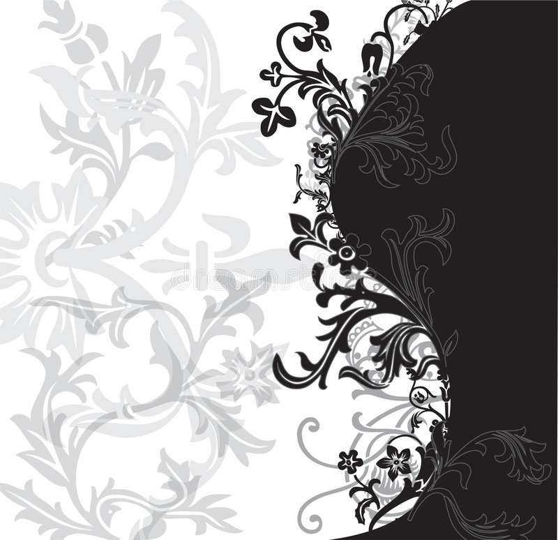 Download Black And White Flowery Patter Stock Vector - Image: 5104174