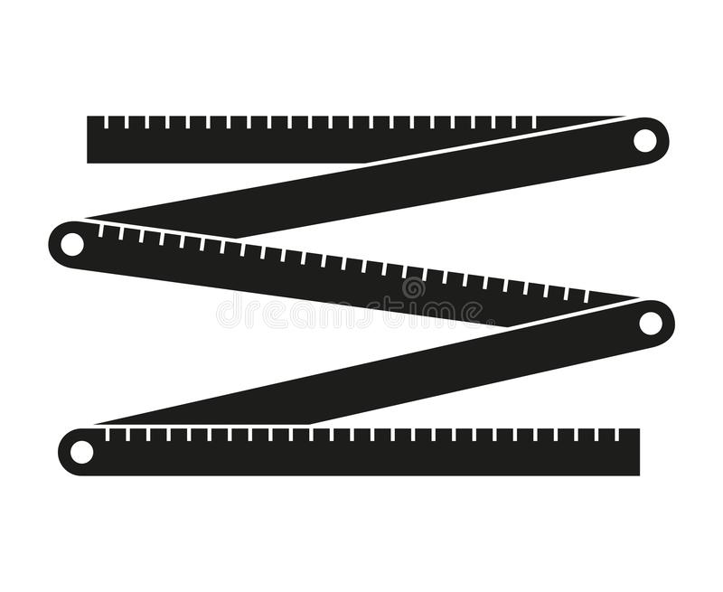 Black and white folding ruler silhouette royalty free illustration