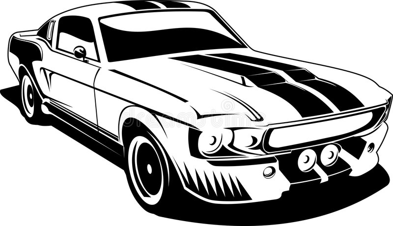 Black and white ford mustang stock illustration