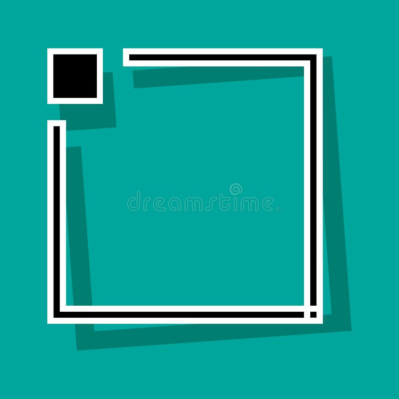 Black and white frame with button for your text on turquoise background. Vector. Illustration vector illustration
