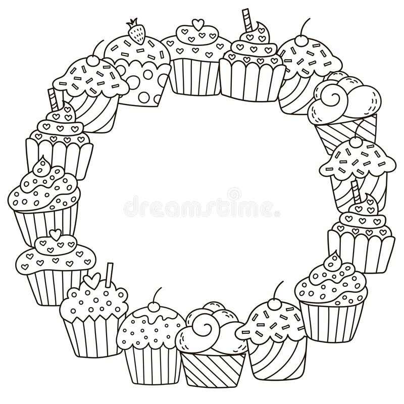 Black and white frame with cute cupcakes for coloring book royalty free illustration