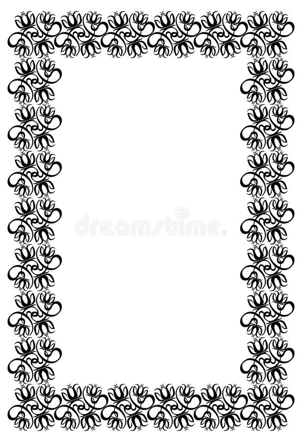 Black and white frame with flowers silhouettes. Raster clip art stock illustration