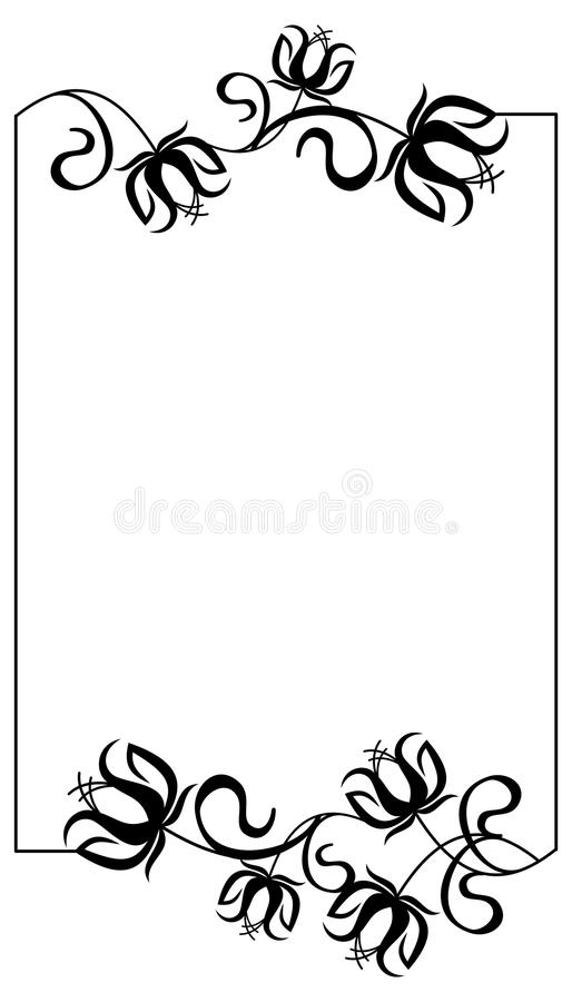 Black and white frame with flowers silhouettes. Vector clip art vector illustration
