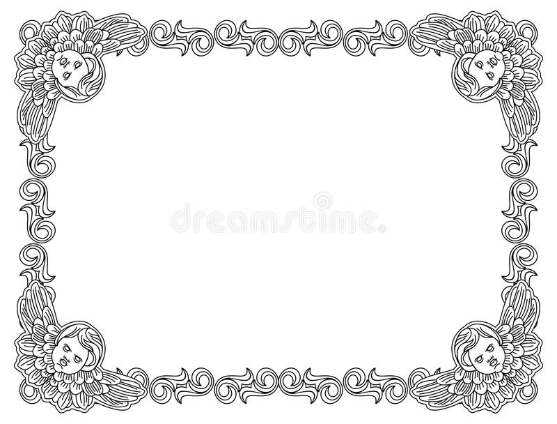 Black And White Frame With Outline Cherub In Vintage Style. Stock ...
