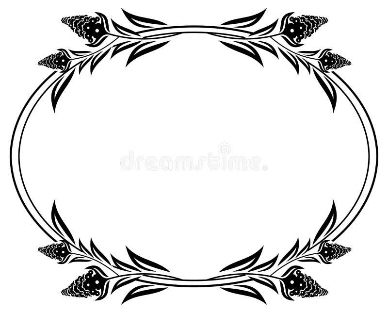 Black And White Frame Outline Decorative Flowers. Stock Illustration ...
