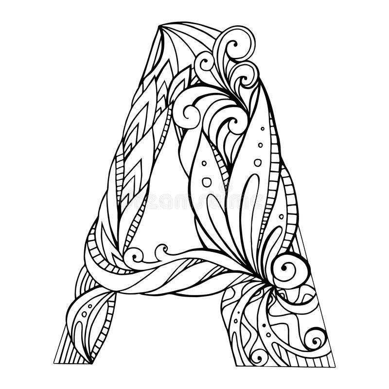 Download Black And White Freehand Drawing Capital Letter A Stock Vector