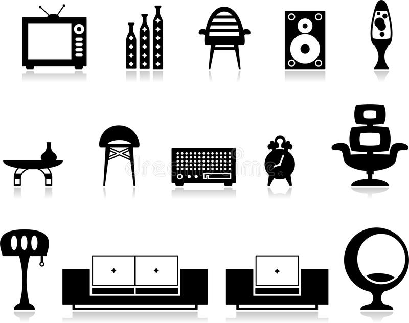 Black and white furniture set. Vector illustration of black and white furniture set - Separate layers for easy editing vector illustration
