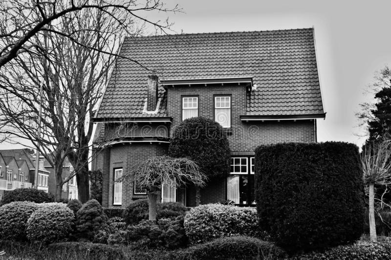 Garden in front of the house. Black and white - garden in front of the house royalty free stock images