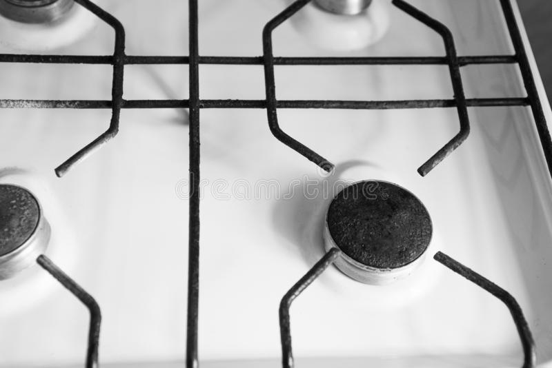 Black and white gas stove. From above royalty free stock photos