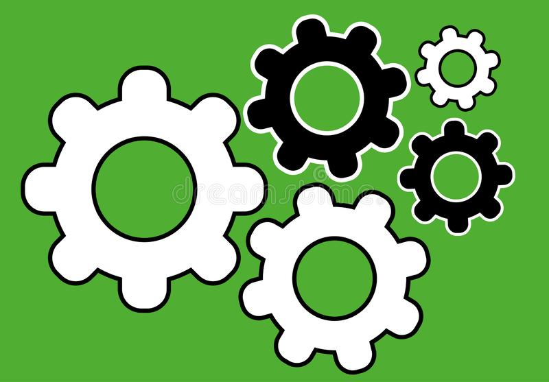 Black and white gear simple icon on green background symbol set. Cogwheel pictogram royalty free illustration