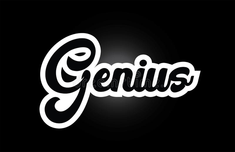 Black and white Genius hand written word text for typography logo icon design. Genius hand written word text for typography iocn design in black and white color royalty free illustration
