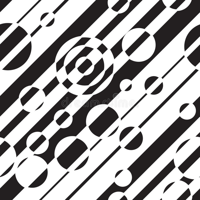 Black and white geometric abstract seamless pattern. Vector illustration, optical illusion. Striped simple lines, hypnotic effect. stock illustration