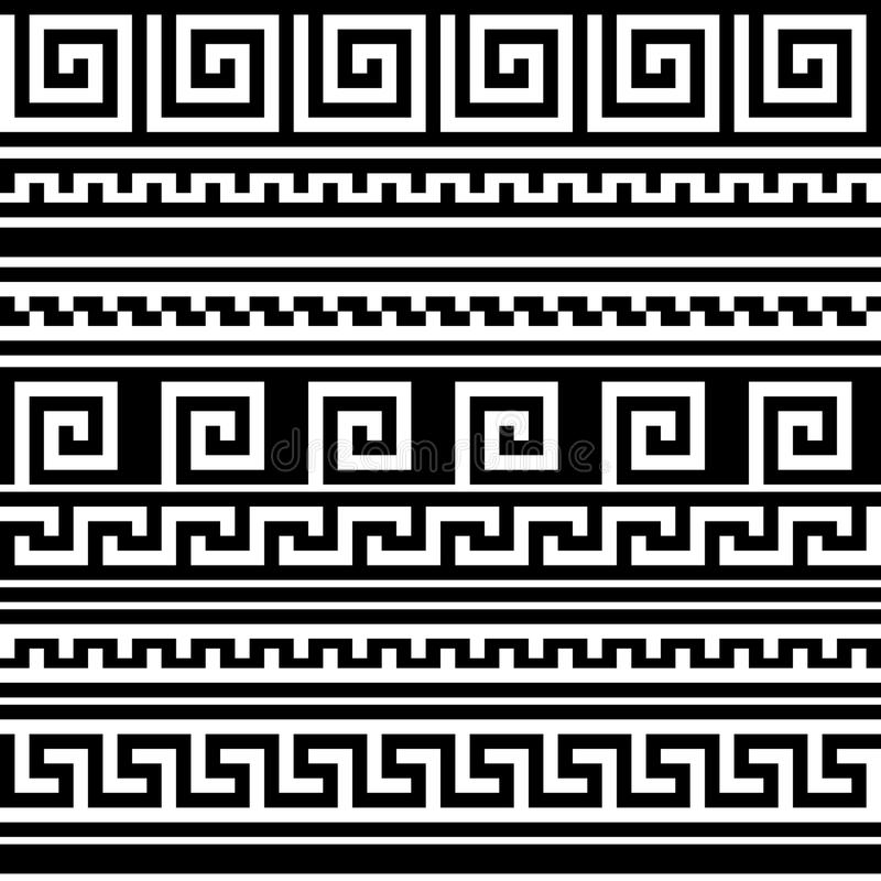 Black and white geometric greek meander traditional seamless pattern, vector royalty free illustration