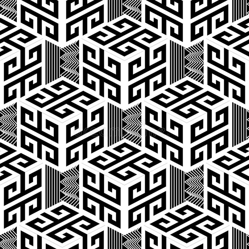 Black and white geometric greek style vector seamless pattern. vector illustration