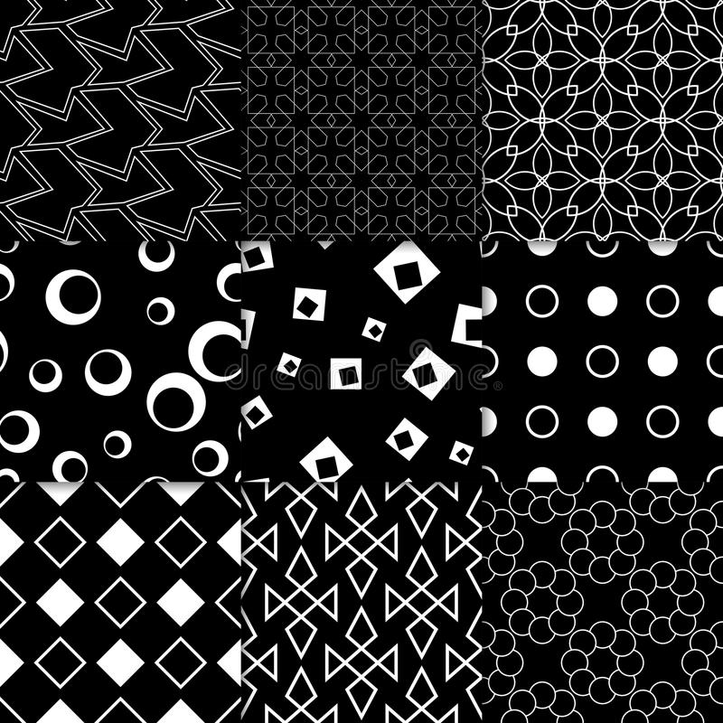 Black and white geometric ornaments. Collection of seamless patterns royalty free illustration