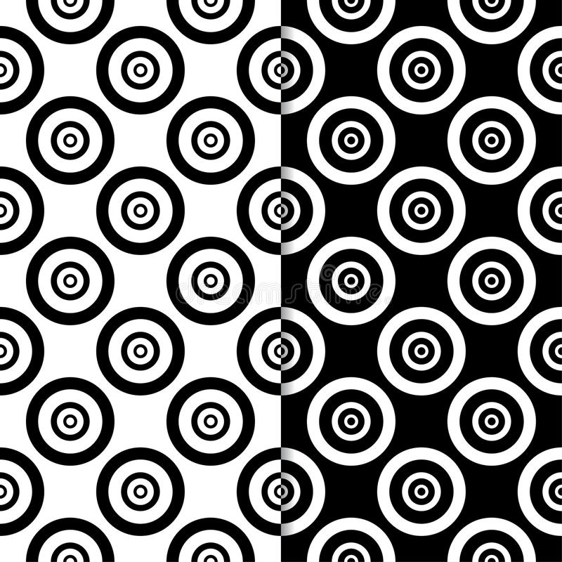 Black and white geometric ornaments. Set of seamless patterns vector illustration