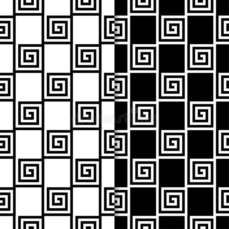 Black and white geometric ornaments. Set of seamless patterns royalty free illustration