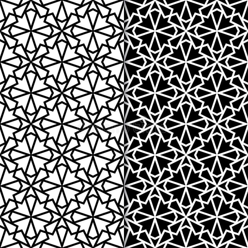 Black and white geometric ornaments. Set of seamless patterns stock photo