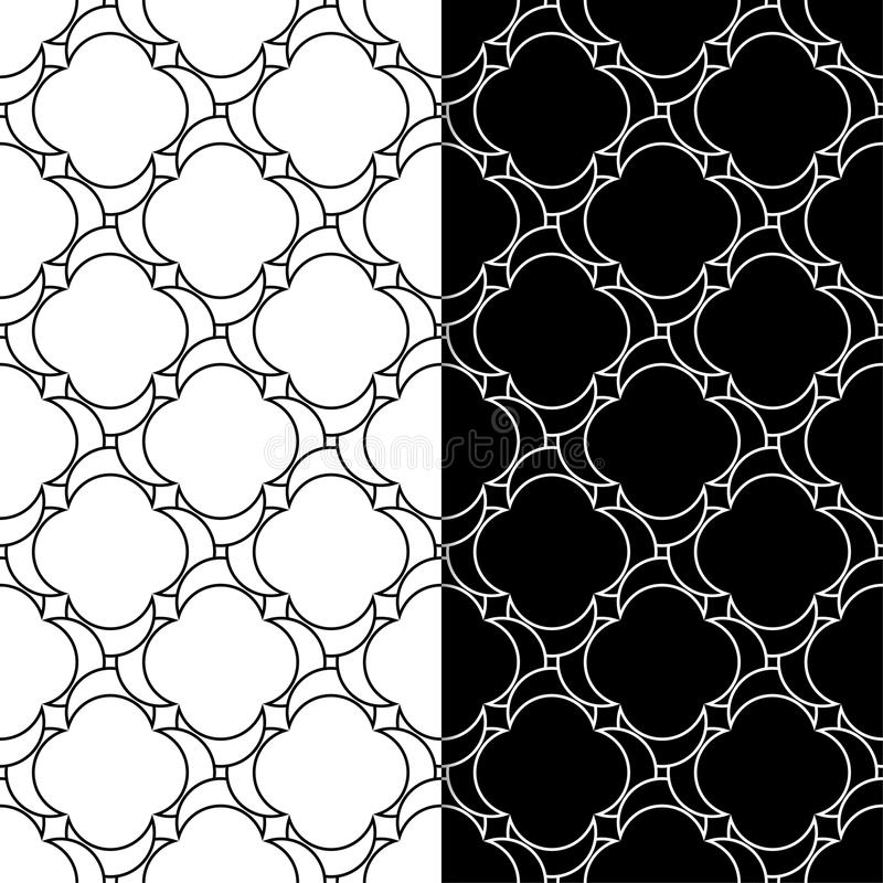 Black and white geometric ornaments. Set of seamless patterns stock illustration