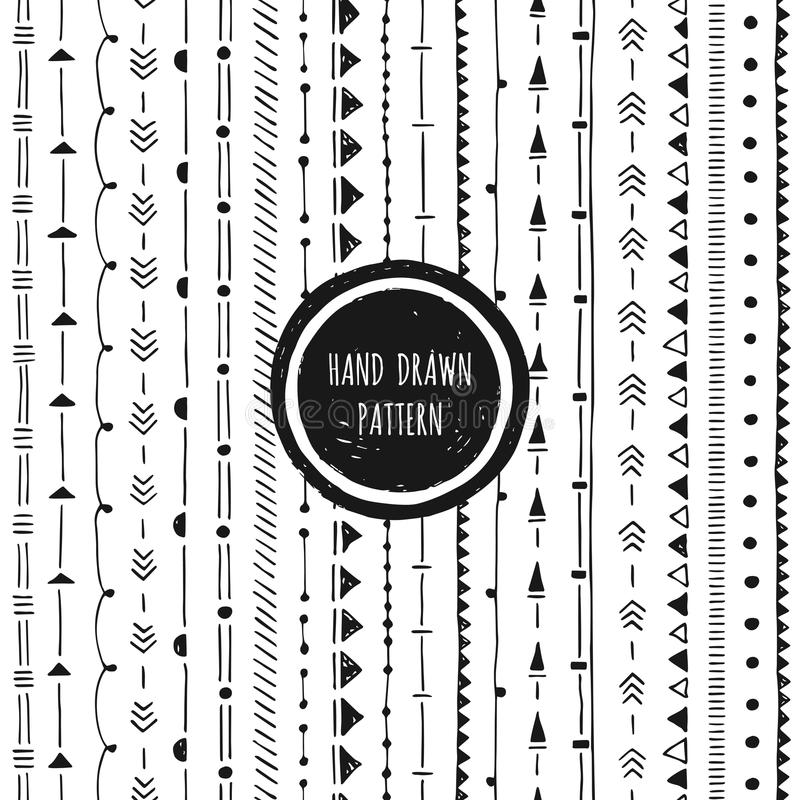 Black and white geometric pattern. Hand drawn seamless vector illustration