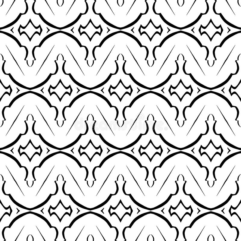 Black and white Geometric pattern in repeat. Fabric print. Seamless background, mosaic ornament, ethnic style. vector illustration