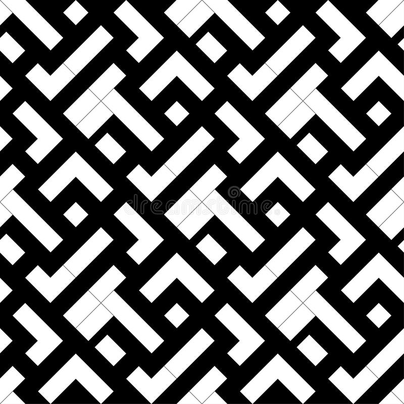 Black and white geometric print. Seamless pattern stock illustration