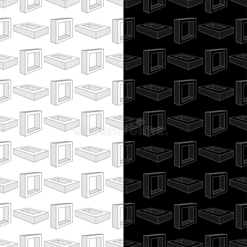 Black and white geometric prints. Set of seamless patterns stock illustration