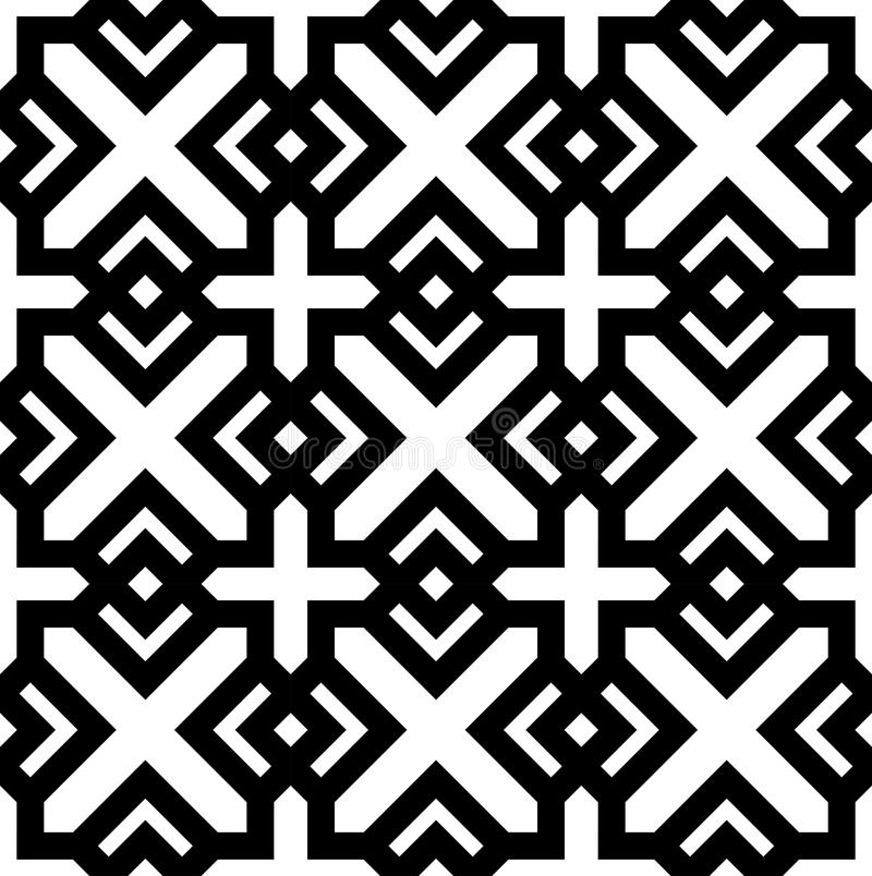 Black and white geometric seamless pattern. In arabic stylish. Vector seamless pattern. Abstract background stock illustration