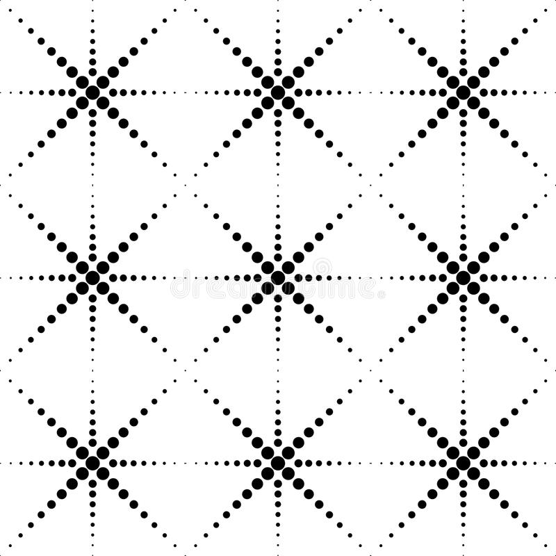 Black and white geometric seamless pattern with circle, abstract stock illustration
