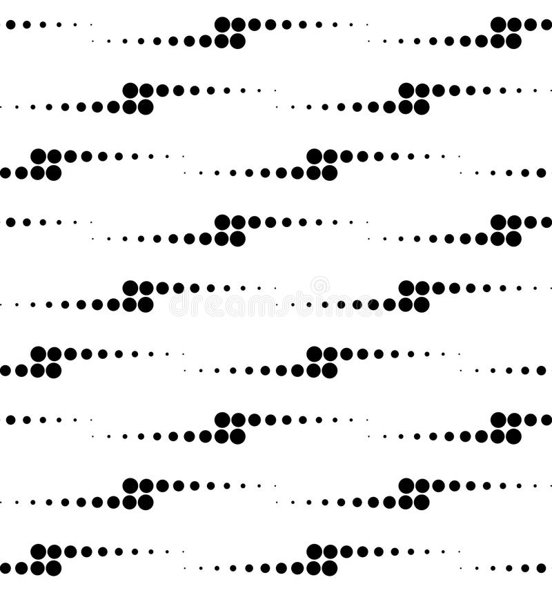 Black and white geometric seamless pattern with circle, abstract royalty free illustration
