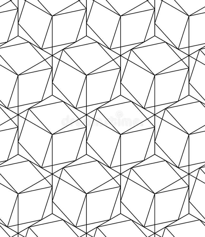 Black and white geometric seamless pattern with line and hexagon stock images