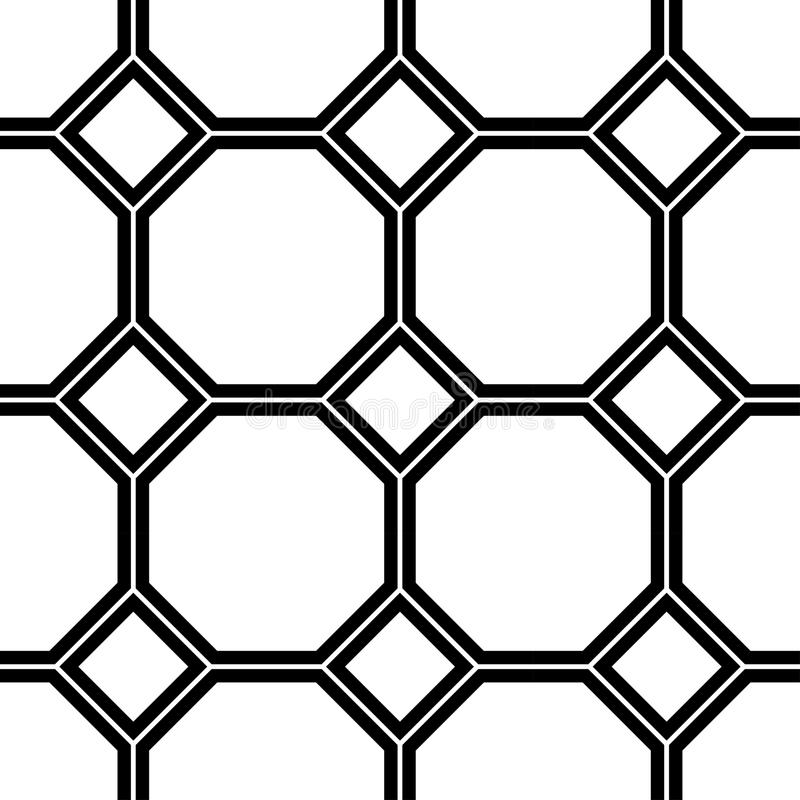 Black and white geometric seamless pattern vector illustration