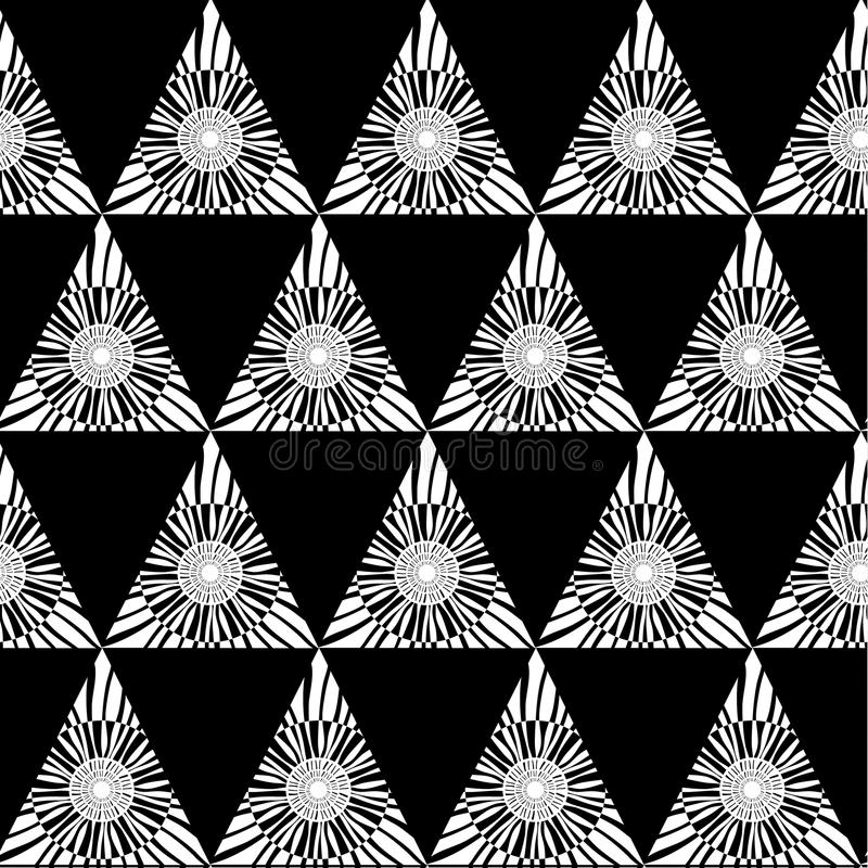 Black white geometric seamless pattern with triangle, abstract background, vector vector illustration