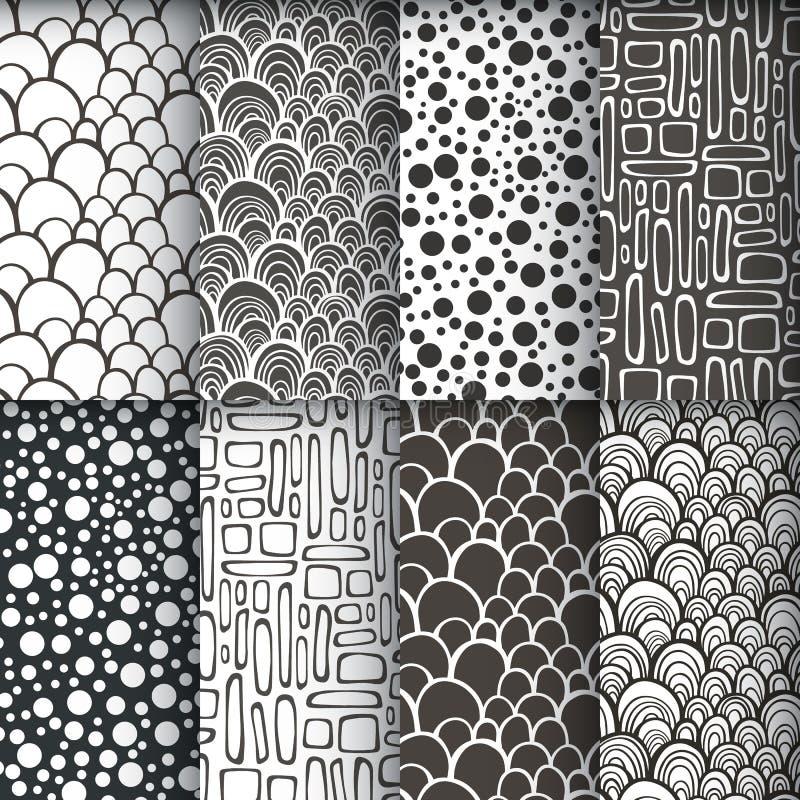 Black and white geometric seamless patterns se royalty free illustration